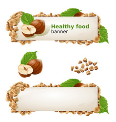 Set banners with hazelnuts and ground nuts vector