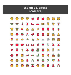 set clothes and shoes icon with filled outline vector image