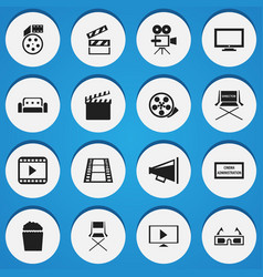 set of 16 editable cinema icons includes symbols vector image