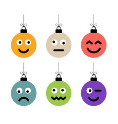Set of christmas colorful balls with cute face vector