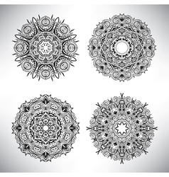 Set of floral elements Lace flowers vector