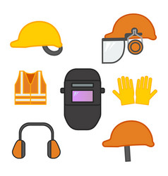set of safety equipment for construction and vector image