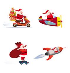 set santa claus different types transport vector image