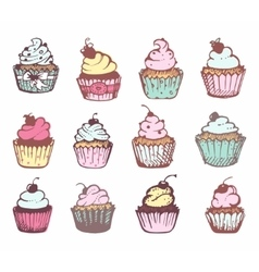 Sketches of a variety of cupcakes vector