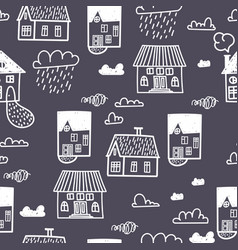 Spring town seamless pattern with hand draw vector