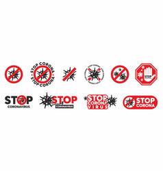 stop coronavirus sign concept set vector image