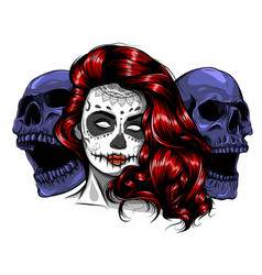 sugar skull girl face with make up for day the vector image