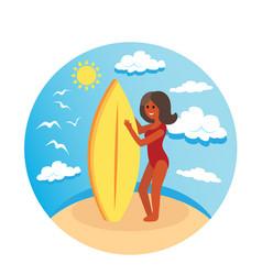 surfer girl concept design of a summer holidays vector image
