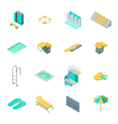 swimming pool elements 3d icons set isometric view vector image