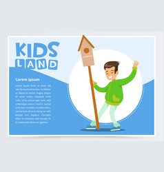 teen boy with birdhouse eco concept kids land vector image