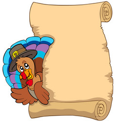 Thanksgiving scroll with turkey 1 vector