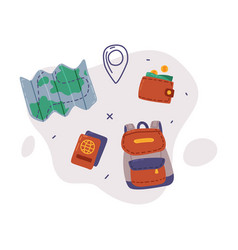 travel or vacation objects set map passport and vector image