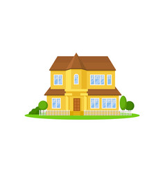 two-storey yellow house with wooden roof little vector image