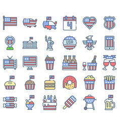 United state independence day icon set omission vector