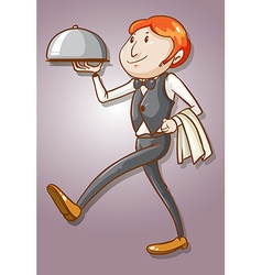 Waiter serving tray of food vector