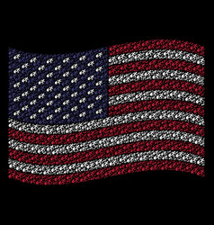 Waving united states flag stylization of fired vector