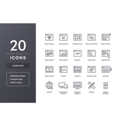 website line icons vector image