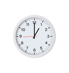 White round clock showing one oclock isolated vector