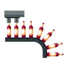 Wine bottles conveyor winemaking industry mechanic vector