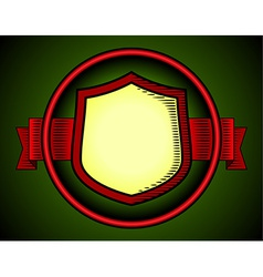 Woodcut shield label vector image