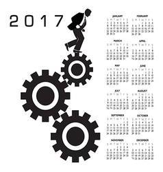 2017 calendar with a worker in the rat race vector image vector image