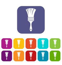 brush icons set flat vector image