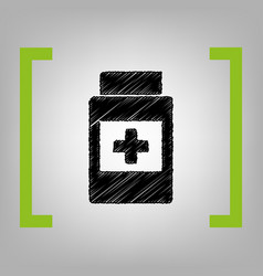 medical container sign black scribble vector image