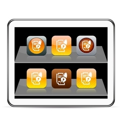 Form and pen orange app icons vector image