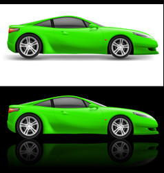 green sport car icon on white and black vector image
