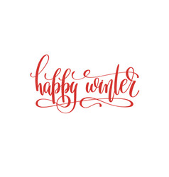 happy winter hand lettering holiday inscription to vector image vector image