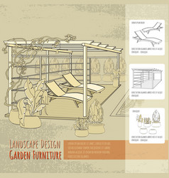 lounge chairs patio pergola and flowers in po vector image vector image