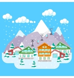 Mountain Ski Resort with Winter Landscape vector image vector image