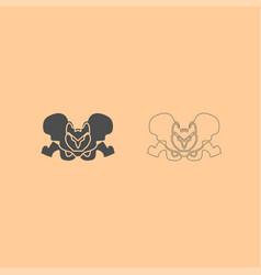 pelvis skeleton dark grey set icon vector image vector image