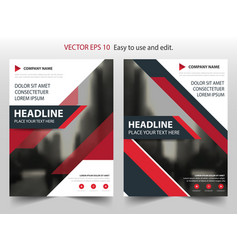 red black annual report brochure flyer design vector image