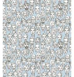 Seamless pattern of female and male doodle hand vector image
