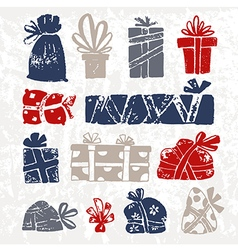set of hand drawn sketch gifts doodle style vector image