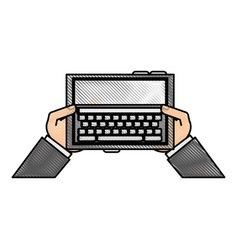 Color blurred stripe hands holding a tablet tech vector