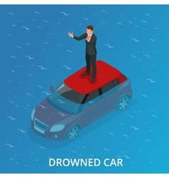 Drowned car A car accident drowned Flat 3d vector image