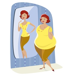 full lady and her slim reflection vector image