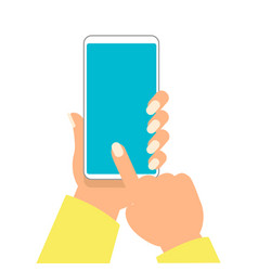 hand of woman is holding smartphone and pointing vector image