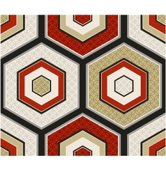 seamless japanese red and gold hexagon pattern vector image vector image