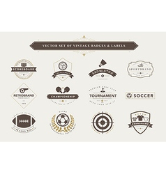 Set of vintage sport badges and labels vector image vector image