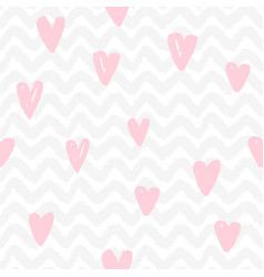 chevron and hearts seamless pattern vector image