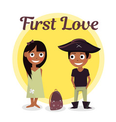First love at school the boy wants to help carry vector