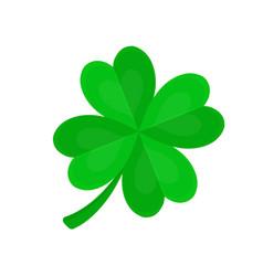 four-leaf clover for luck flat cartoon vector image vector image