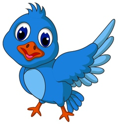 Funny blue bird cartoon posing vector image