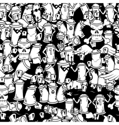 Graffiti spray can characters background vector image