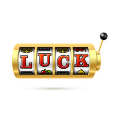 luck word on slot machine vector image vector image