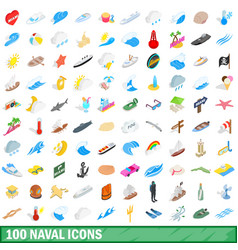 100 naval icons set isometric 3d style vector