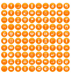 100 navigation icons set orange vector
